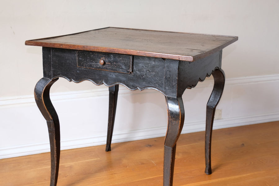 18th Century French Ebonised Fruitwood Table With Cabriole Legs & Hoof Feet