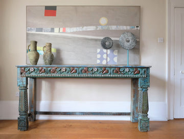Substantial Painted Side Table With Floral Carved Frieze & Legs