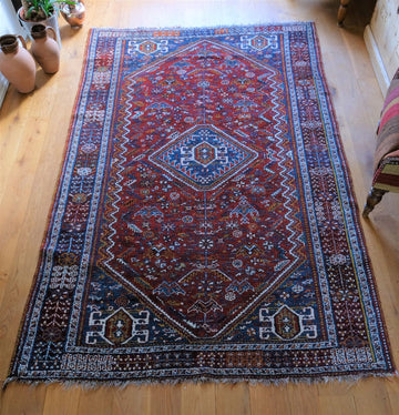 Shiraz rug, south west Persia, mid 20th century blue & red. 1650 x 2620