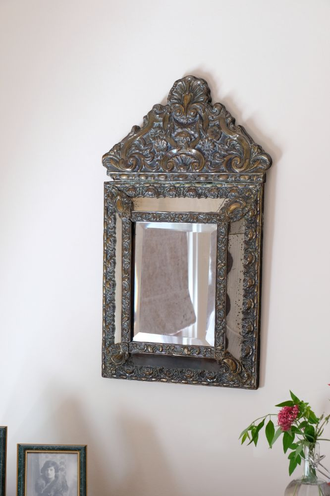 19th Century French brass mounted cushion mirror 59 x 35 cm