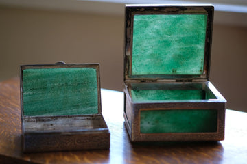 Pair of Indian style silver and jadeite decorative boxes