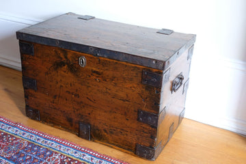 Small Antique stained pine iron bound chest