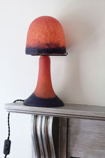 Art Deco glass lamp mushroom shape with opaque red & blue shade & base.