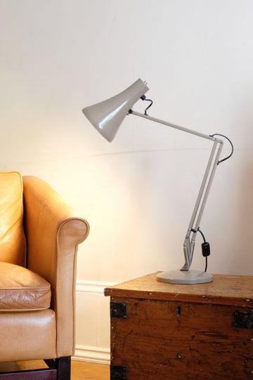 Original Anglepoise Lamp (1973 - 1985) in a Taupe colour with a top toggle on/off button.