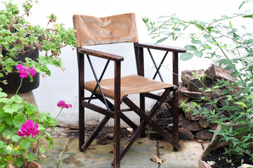 Set of 4 vintage folding directors chairs with velvet covers