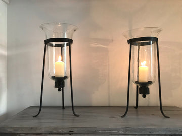 Pair Of 19th Century Wrought Iron Tripod Storm Lanterns With Hand Blown Glass