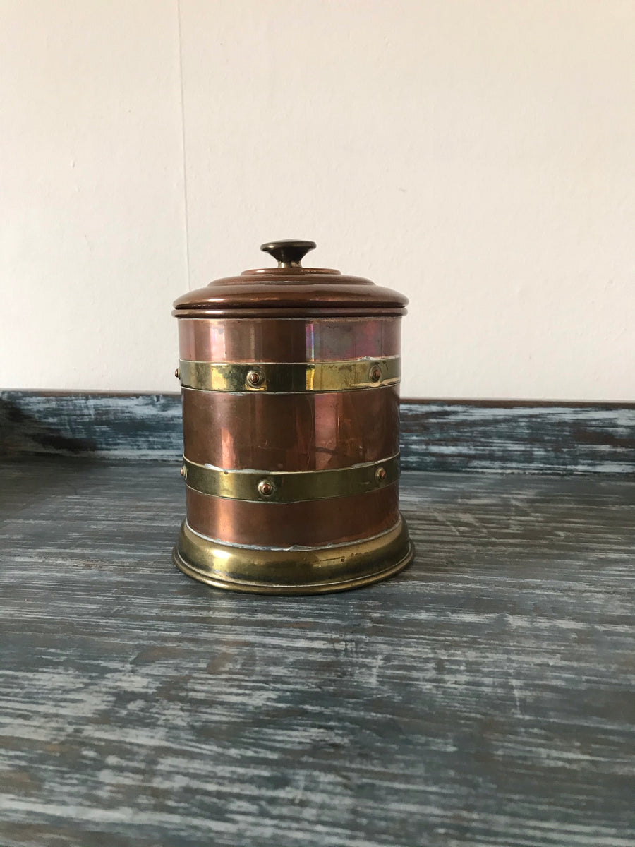Arts & Crafts Copper & Brass Tabacco Jar