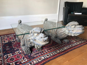 Coffee Table Made With Chinese Carved & Painted Foo (Fu) Dogs