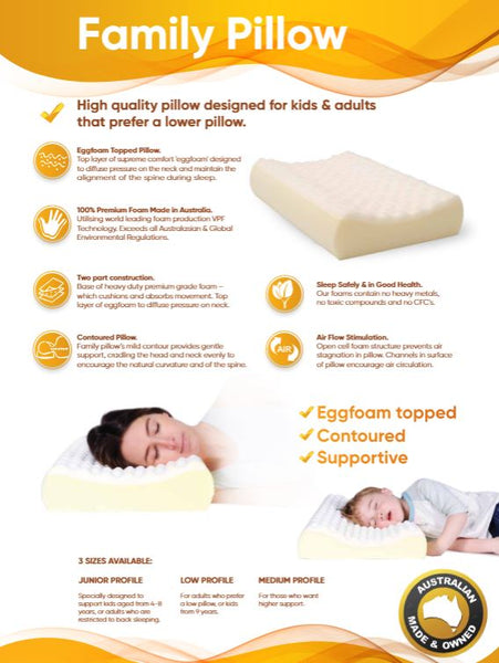 Ausnew Home Care Disability Services Family Pillow - Eggfoam Topped Contour Pillow - 4 Size Options | NDIS Approved, mount druitt, rooty hill, blacktown, penrith