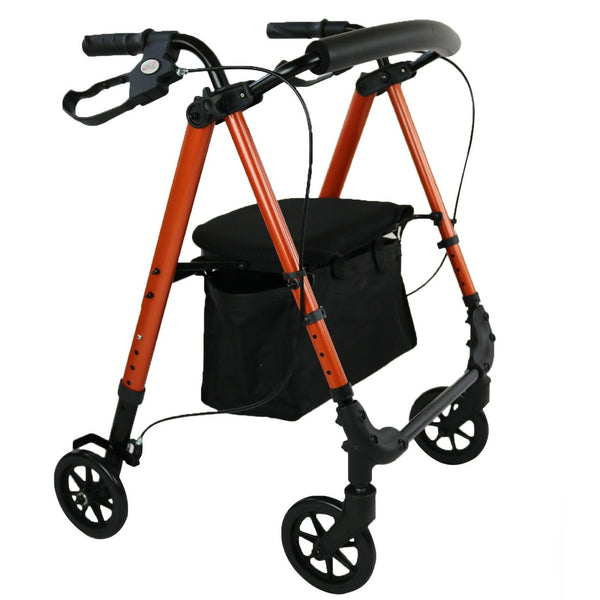 "Ausnew Home Care Disability Services 6"" Flexi Height Adjustable Burnt Orange Rollator 