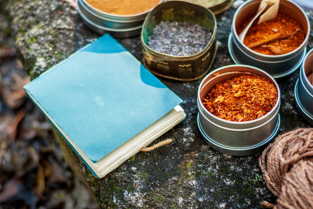 table with spices and a notebook