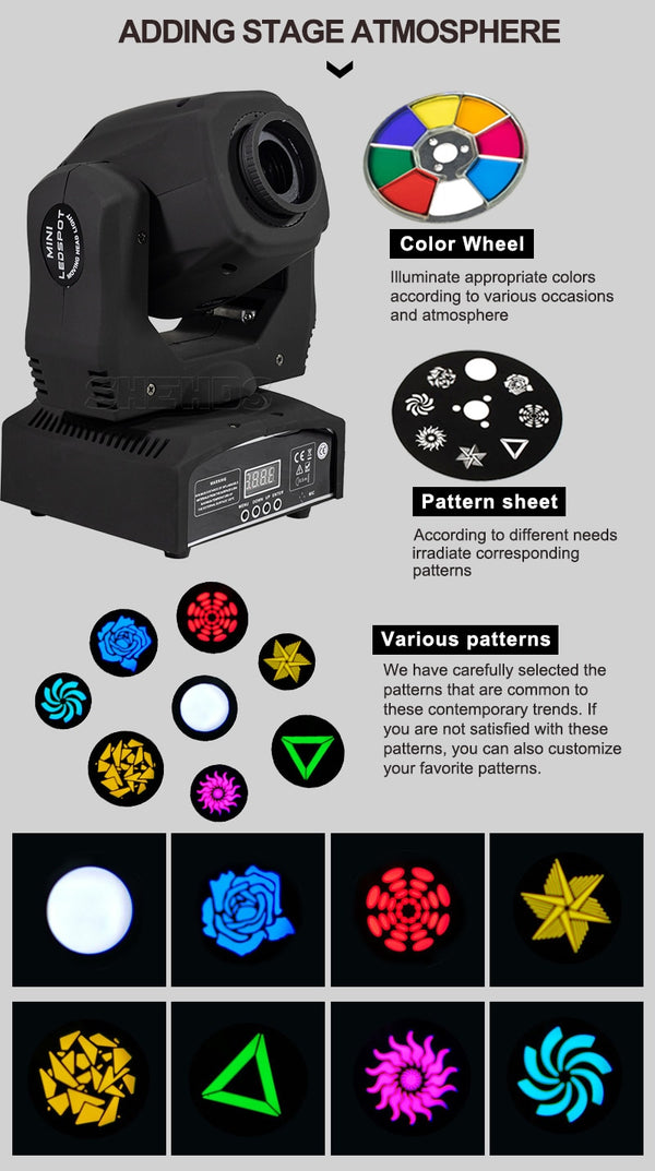 Disco LED Spot 60W Moving Head With DMX Controller