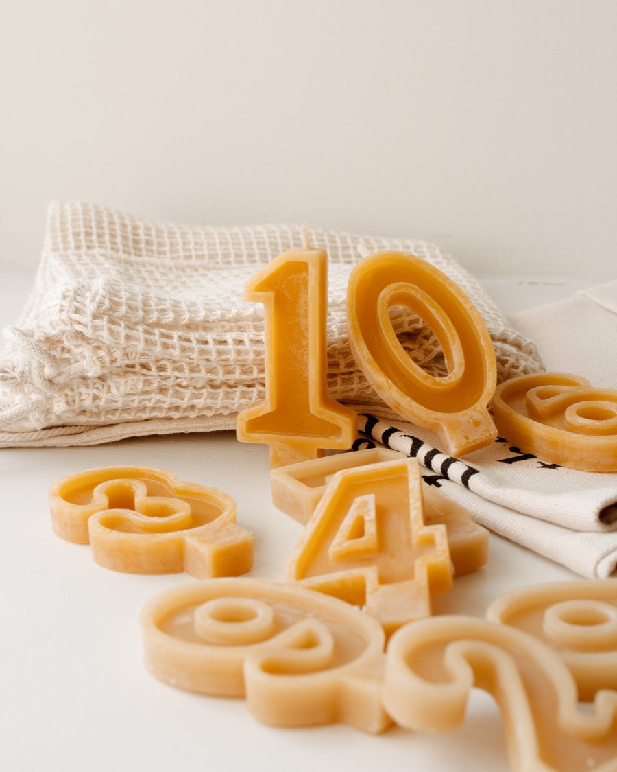Handmade Beeswax Number Candles