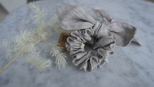 Open image in slideshow, Raw Flax Linen Scrunchies