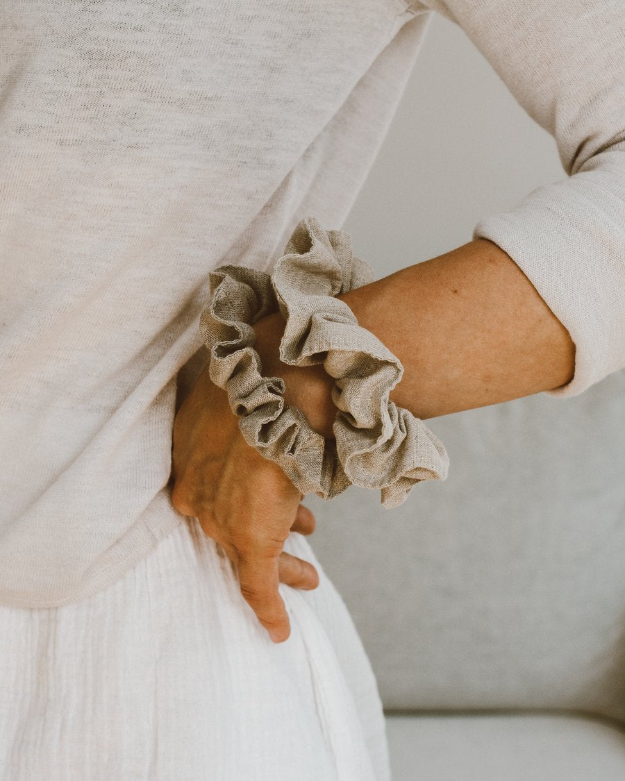 Raw Flax Linen Scrunchies