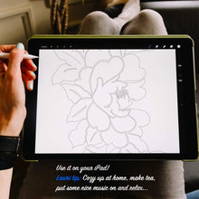 Load image into Gallery viewer, Printable colouring page with a floral design.