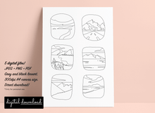 Load image into Gallery viewer, Printable colouring page with landscapes grid design.
