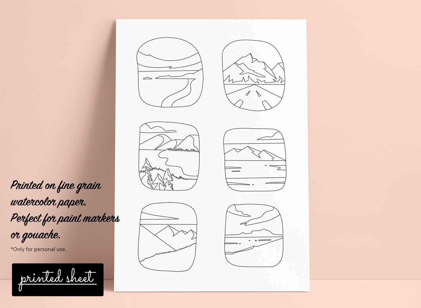 Colouring page for paint markers and gouache | Printed colouring sheet with landscapes illustration