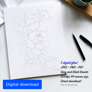 Printable colouring page with a floral design.