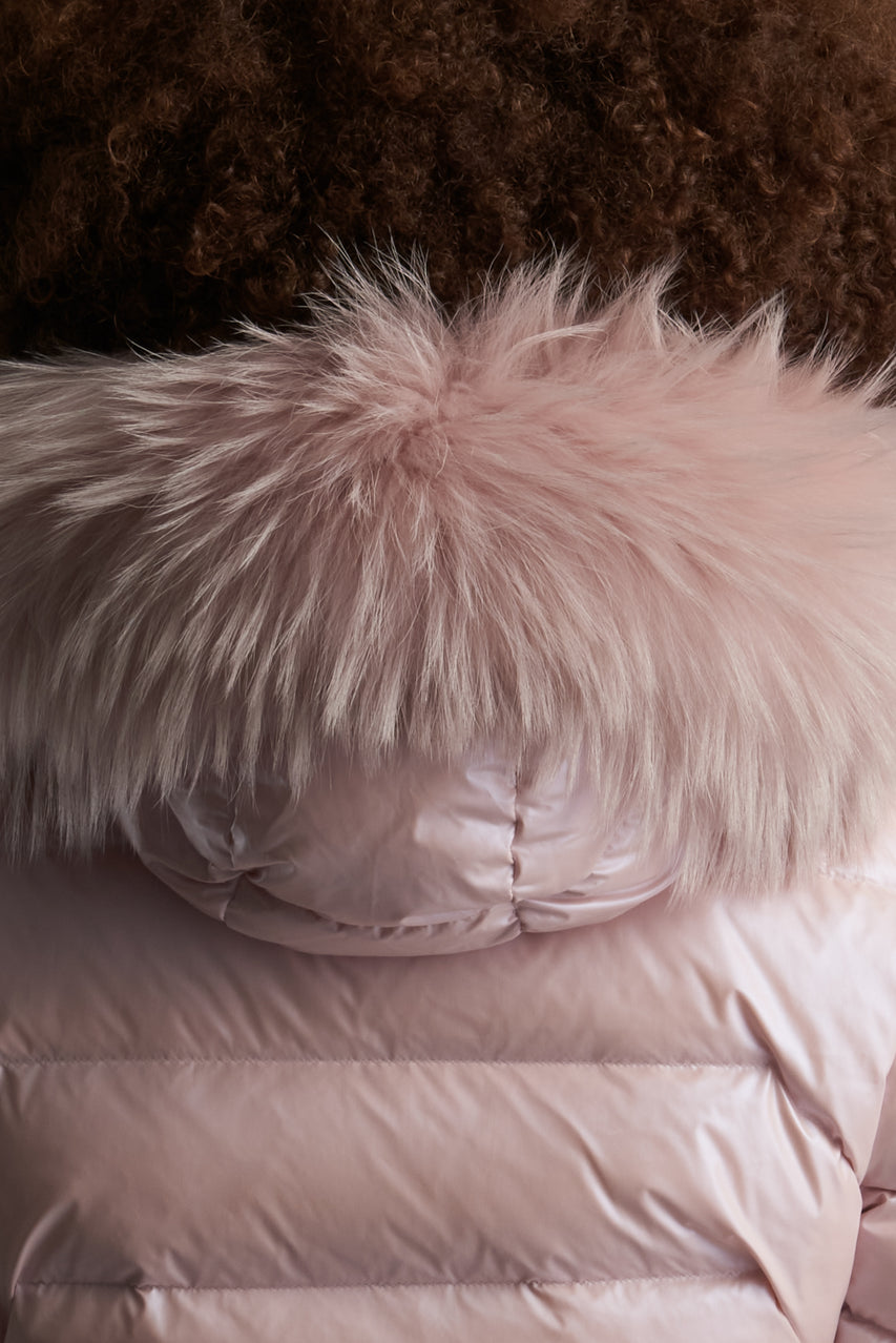 Close Up View of Unisex Feldspar Pink Fur Hood Trim by Reeev