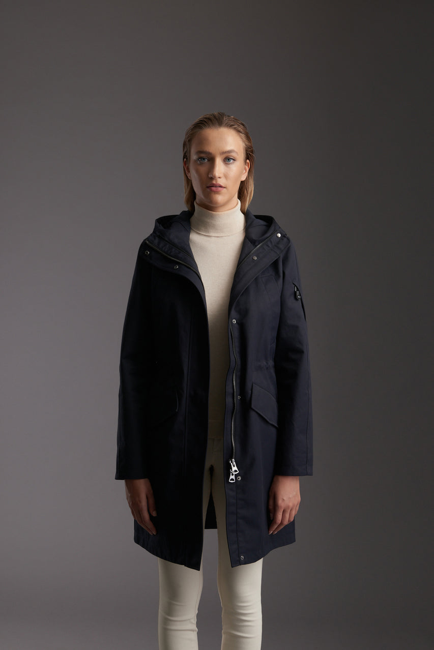Front of Womens's Marine Navy Waterproof Urban Parka Jacket by Reeev