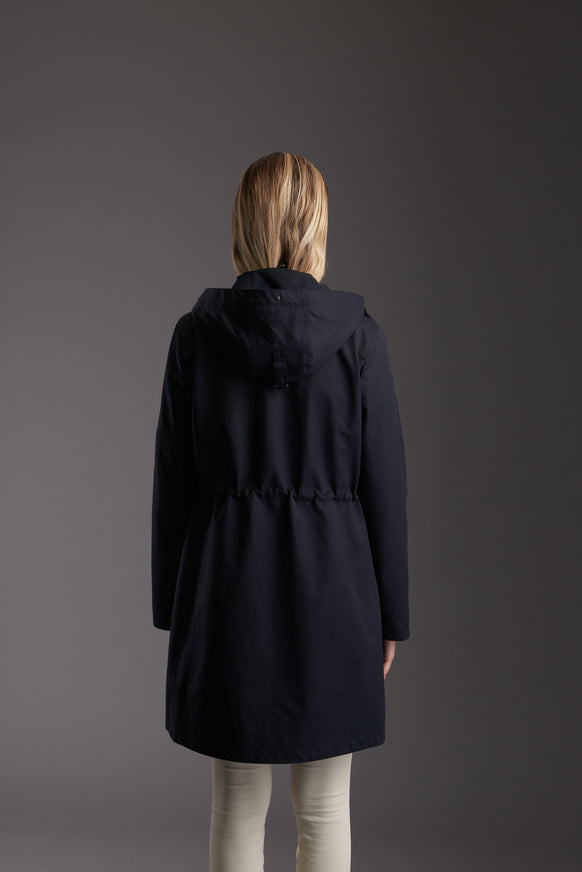 Back of Womens's Marine Navy Waterproof Urban Parka Jacket by Reeev