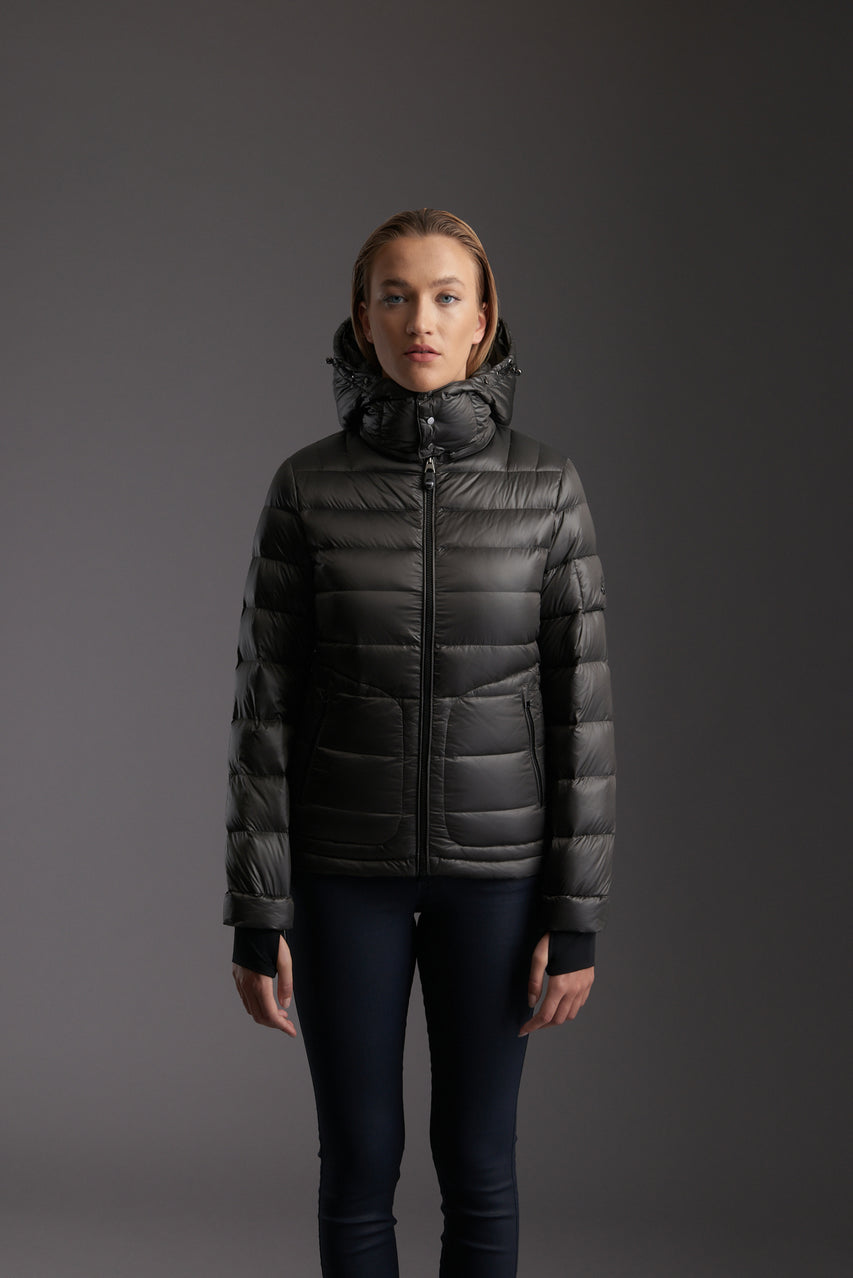 Front of Women's Tornado Grey Insulated Lightweight Down Jacket by Reeev