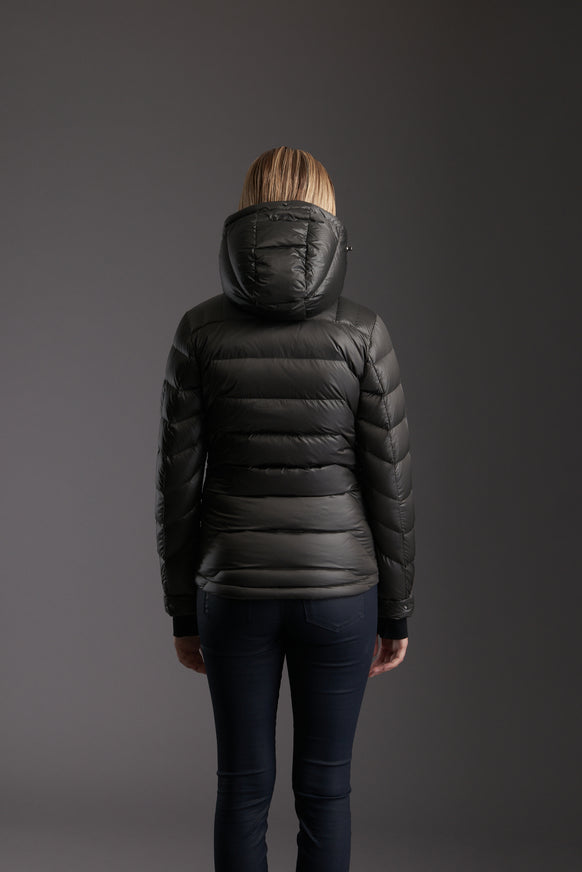 Back of Women's Tornado Grey Insulated Lightweight Down Jacket by Reeev
