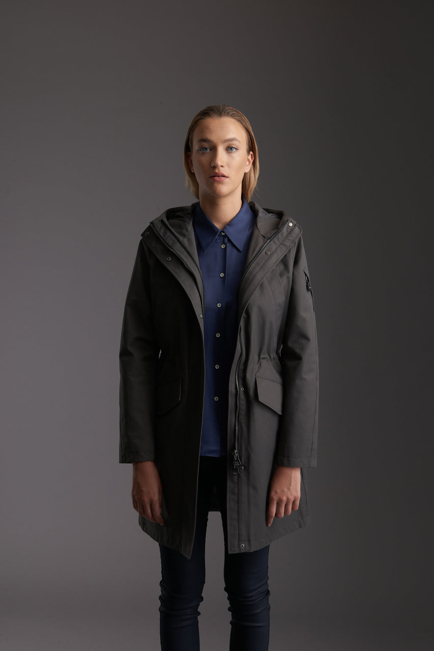 Front of Womens's Tornado Grey Waterproof Urban Parka Jacket by Reeev