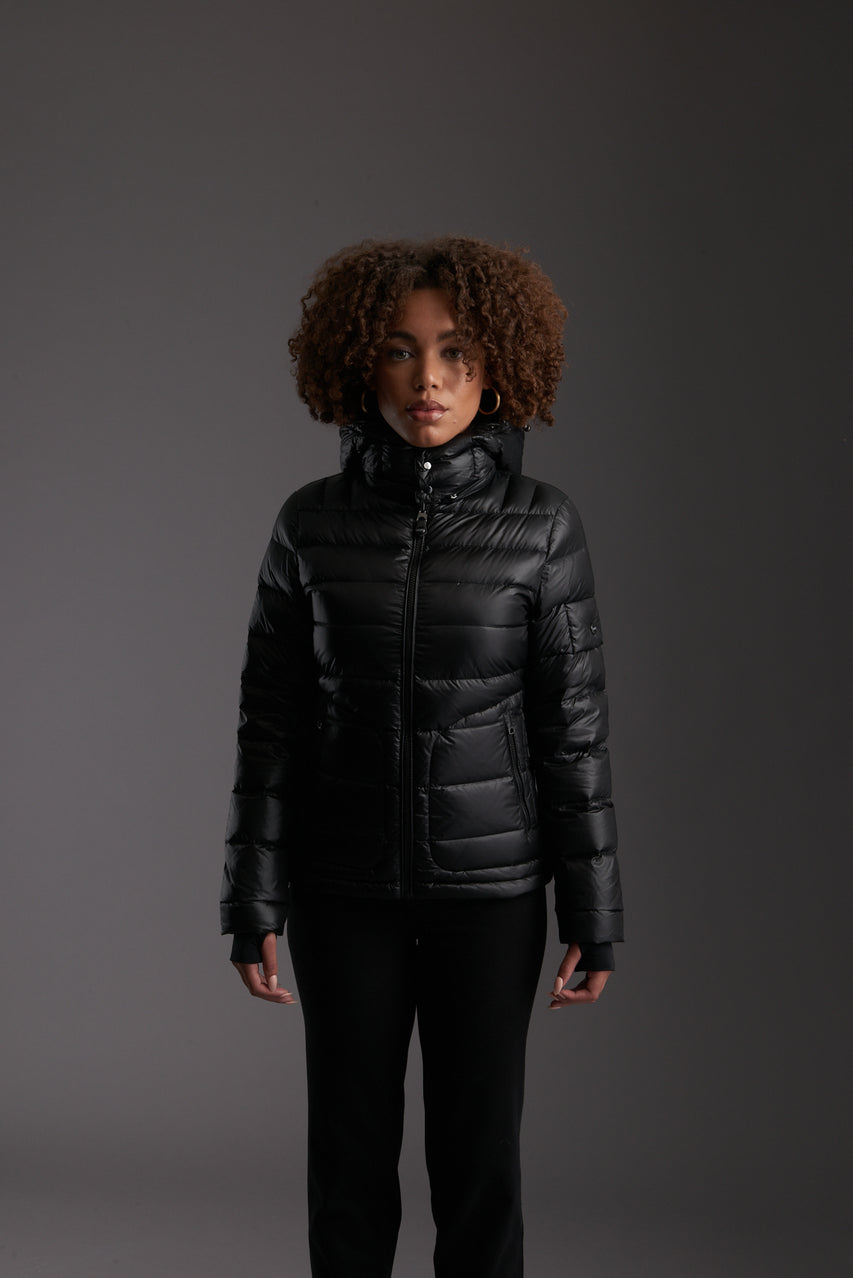 Front of Women's Carbon Black Insulated Lightweight Down Jacket by Reeev