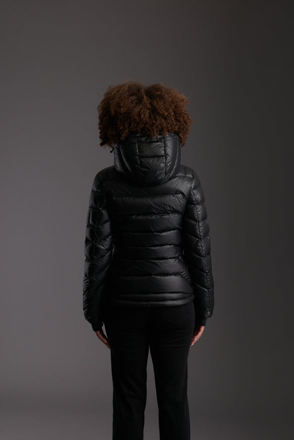 Back of Women's Carbon Black Insulated Lightweight Down Jacket by Reeev
