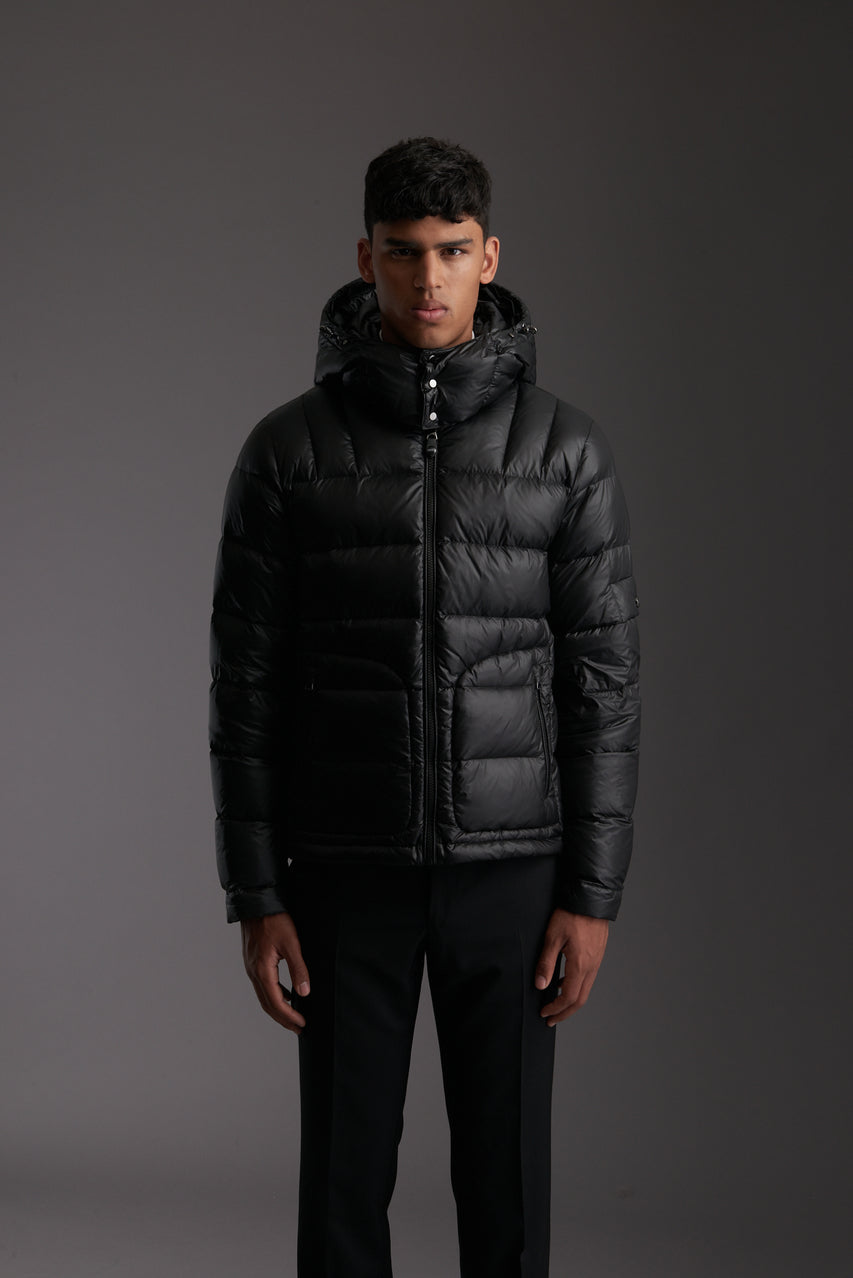 Front of Men's Carbon Black Insulated Lightweight Down Jacket by Reeev