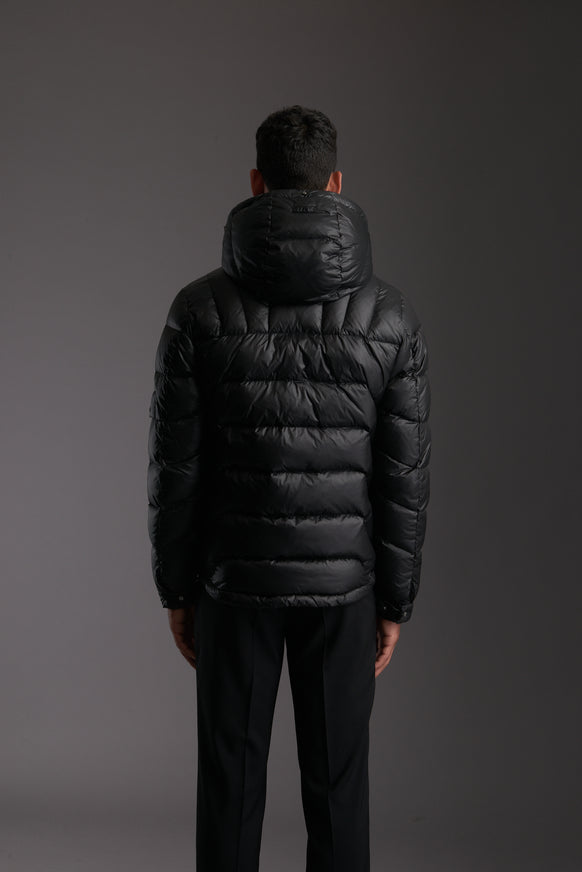 Back of Men's Carbon Black Insulated Lightweight Down Jacket by Reeev