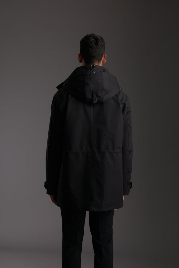 Back of Men's Carbon Black Waterproof Utility Field Jacket by Reeev