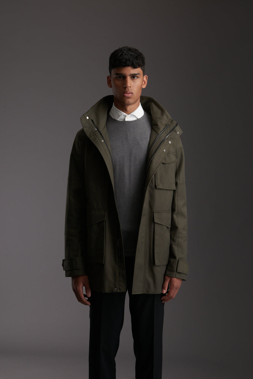 Front of Men's Moss Green Waterproof Utility Field Jacket by Reeev