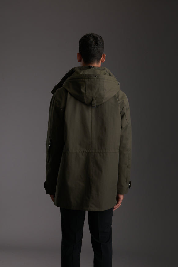 Back of Men's Moss Green Waterproof Utility Field Jacket by Reeev