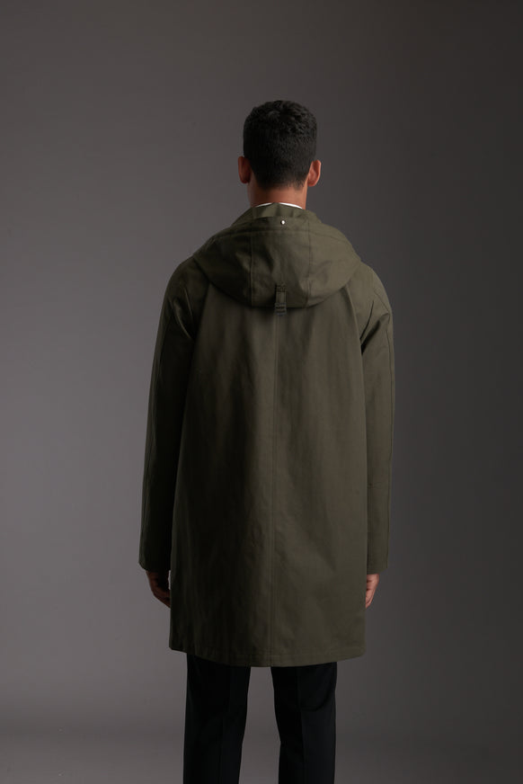 Back of Men's Moss Green Waterproof Urban Parka Jacket by Reeev