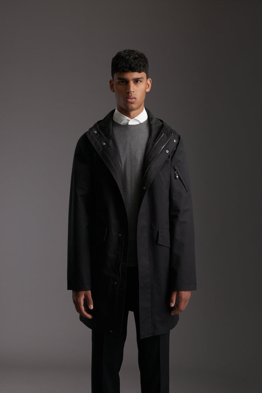 Front of Men's Carbon Black Waterproof Urban Parka Jacket by Reeev