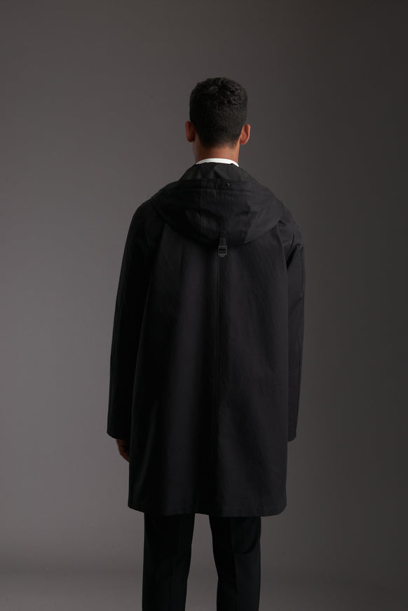 Back of Men's Carbon Black Waterproof Urban Parka Jacket by Reeev