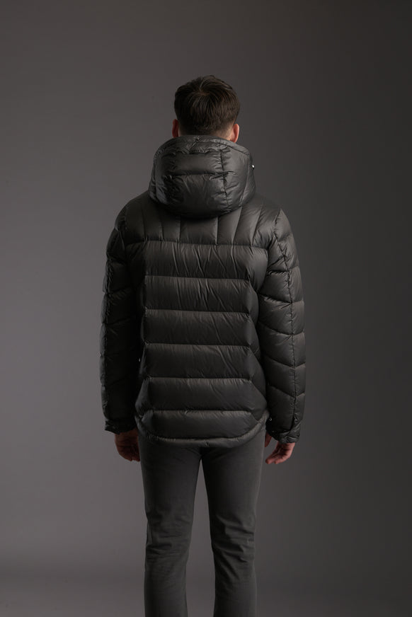 Back of Men's Tornado Grey Insulated Lightweight Down Jacket by Reeev
