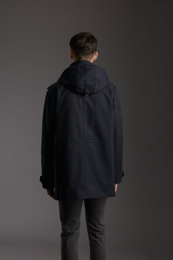 Back of Men's Marine Navy Waterproof Utility Field Jacket by Reeev