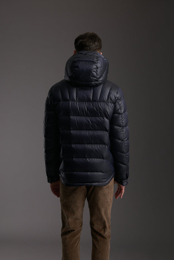 Back of Men's Marine Navy Insulated Lightweight Down Jacket by Reeev