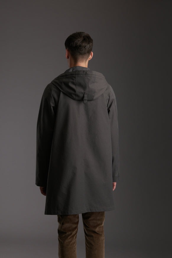 Back of Men's Tornado Grey Waterproof Urban Parka Jacket by Reeev