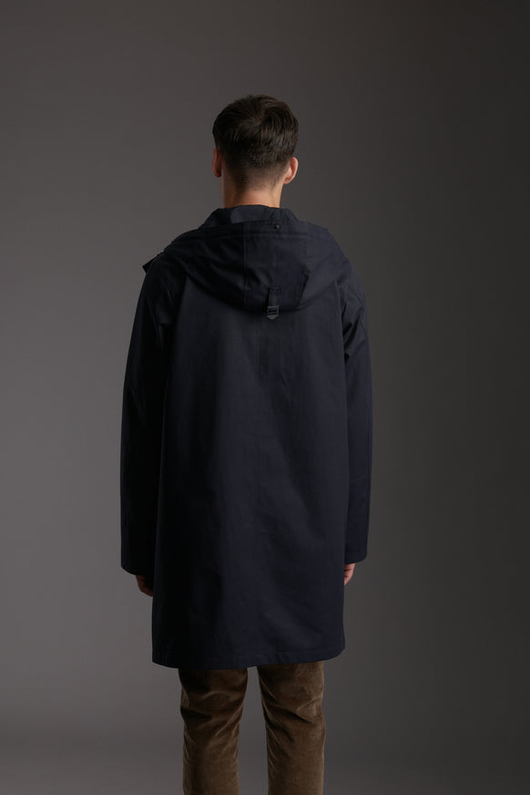 Back of Men's Marine Navy Waterproof Urban Parka Jacket by Reeev