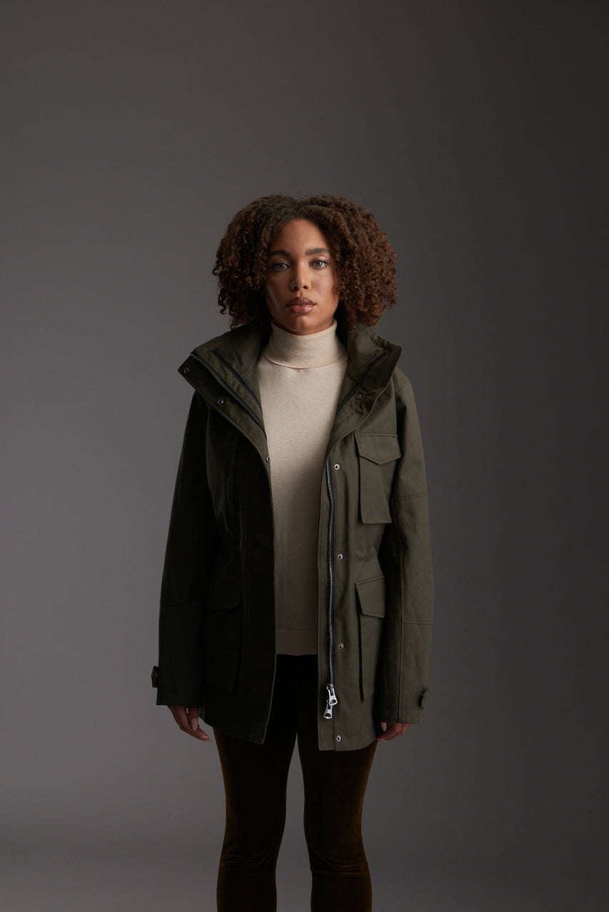 Front of Women's Moss Green Waterproof Utility Field Jacket by Reeev