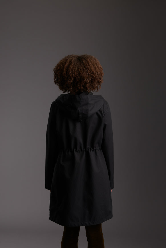 Back of Womens's Carbon Black Waterproof Urban Parka Jacket by Reeev