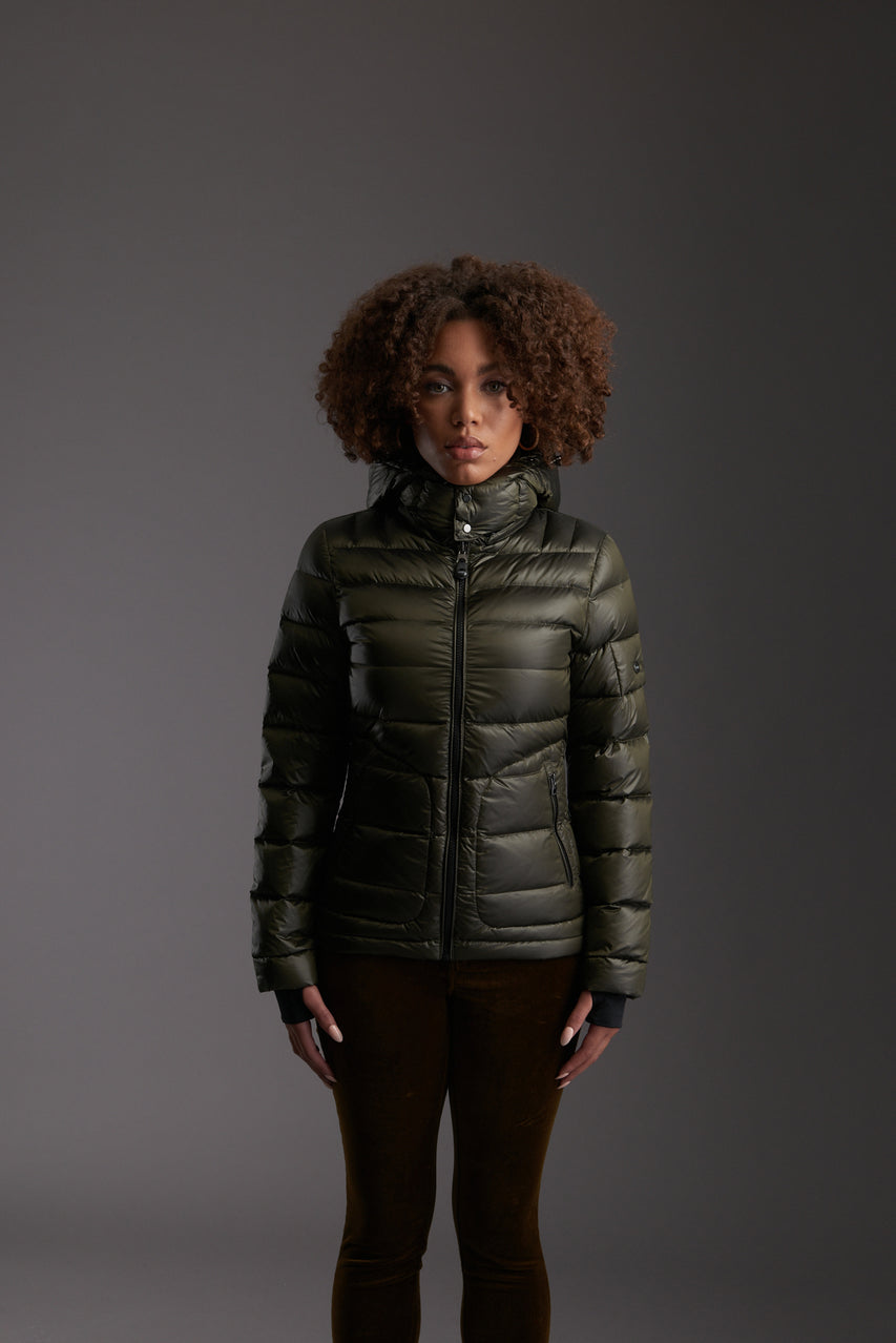 Front of Women's Moss Green Insulated Lightweight Down Jacket by Reeev