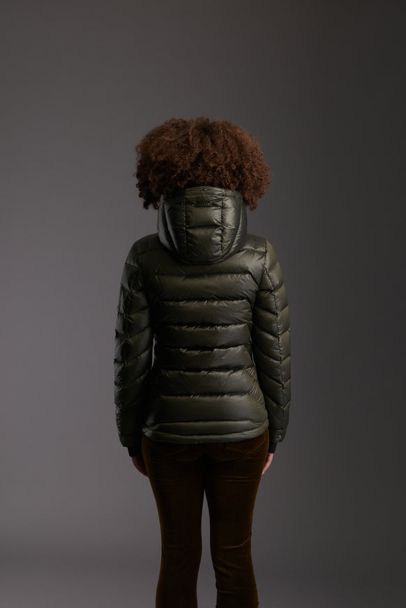 Back of Women's Moss Green Insulated Lightweight Down Jacket by Reeev