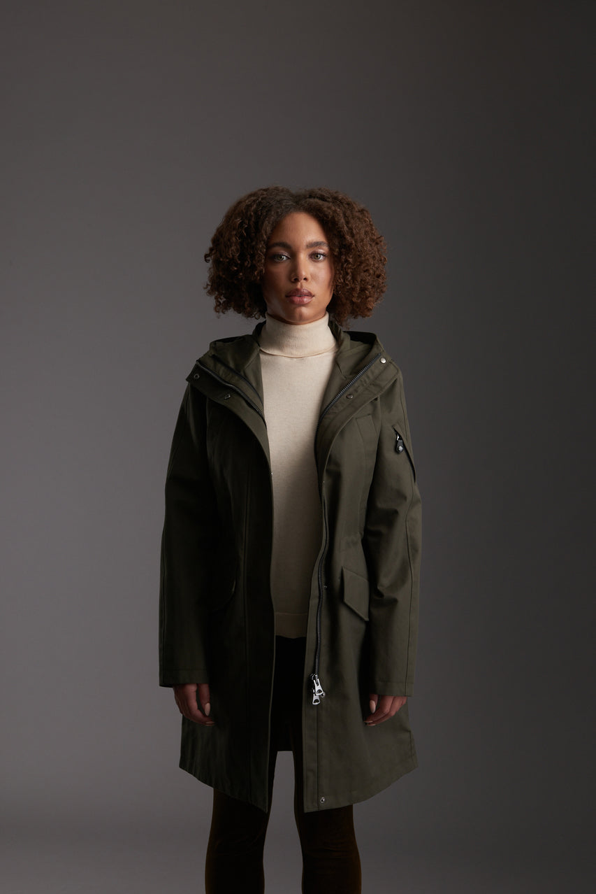 Front of Womens's Moss Green Waterproof Urban Parka Jacket by Reeev