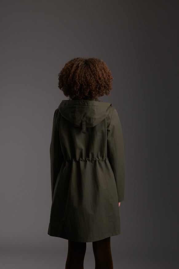 Back of Womens's Moss Green Waterproof Urban Parka Jacket by Reeev